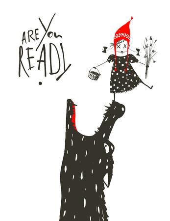Little Red Riding Hood Klaar om te worden opgegeten door de wolf. Illustratie voor het sprookje, enge wolf en een kind. Schetsmatig artistieke tekening. Vector illustratie. Stock Illustratie