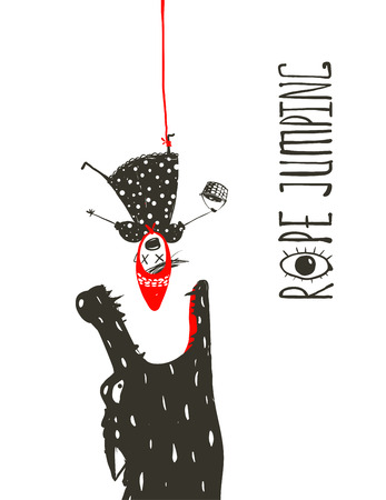 Little Red Riding Hood touw springen en Wolf. Enge wolf wil eten Roodkapje terwijl ze hangt ondersteboven op het rode touw. Schetsmatig artistieke tekening. Vector illustratie. Stock Illustratie
