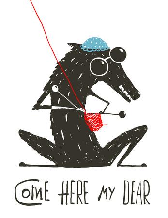 Wolf Gekleed als een Grootmoeder Breien Little Red Riding Hood. Enge wolf vermomd als een oma, Illustratie voor het sprookje Roodkapje. Schetsmatig artistieke tekening. Vector illustratie.