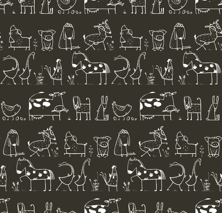 horse cock: Funny Cartoon Farm Domestic Animals Seamless Pattern for Kids on Black