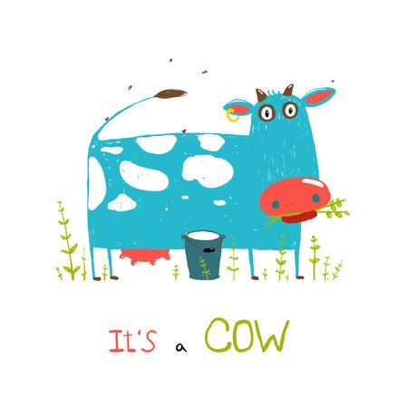 caricatura mosca: Colores Brillantes Diversión Vaca y leche para los niños Vectores