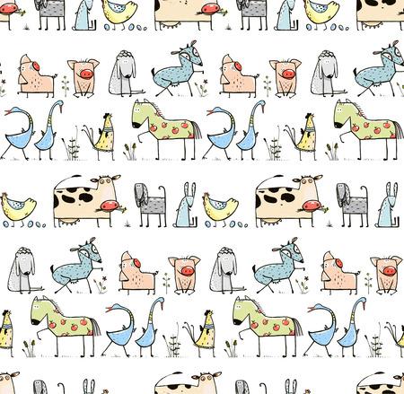 paisaje rural: Funny Cartoon Village Animal dom�stico fondo sin fisuras patr�n para Ni�os