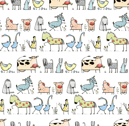 funny animal: Funny Cartoon Village Domestic Animals Seamless Pattern Background for Kids