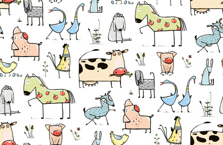 domestic animals: Funny Cartoon Village Domestic Animals Seamless Pattern Background for Kids