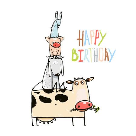 Birthday Funny Cartoon Farm Domestic Animals Pyramid Composition Greeting