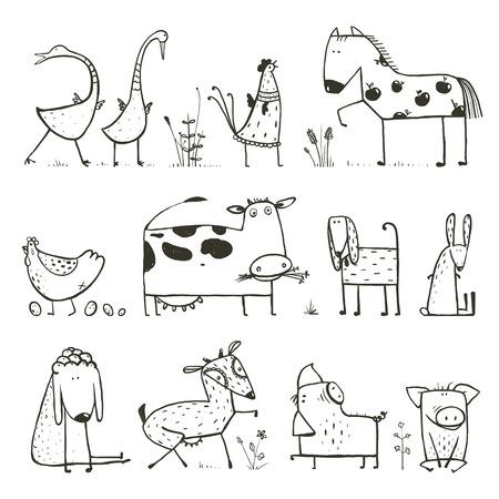Bande dessinée drôle de ferme Animaux domestiques Collection pour enfants coloriage Banque d'images - 40042214