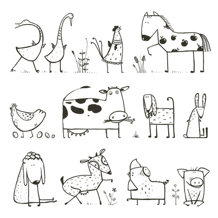 Funny Cartoon Farm Domestic Animals Collection for Kids Coloring Page Ilustração