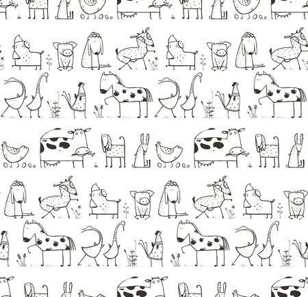domestic animals: Funny Cartoon Farm Domestic Animals Seamless Pattern for Kids Coloring Page