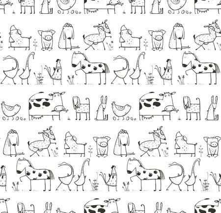 Funny Cartoon Farm Huisdieren Naadloze patroon voor kinderen Kleurplaten