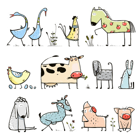 Funny Cartoon Farm Domestic Animals Collection for Kids 版權商用圖片 - 40042217