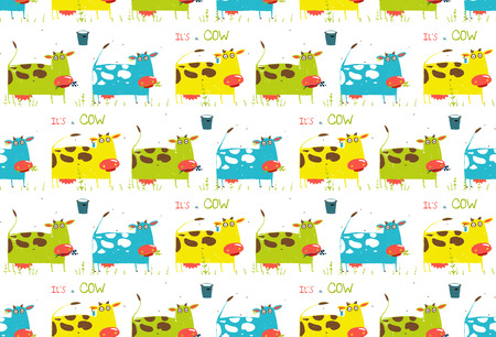 milk pail: Brightly Colored Fun Cow and Milk Seamless Pattern Illustration