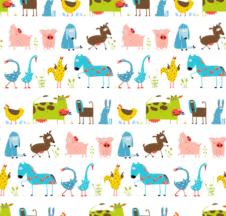 Bright Fun Cartoon Farm Domestic Animals Seamless Background Ilustração