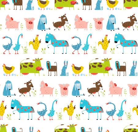 Bright Fun Cartoon Farm Domestic Animals Seamless Background Vettoriali