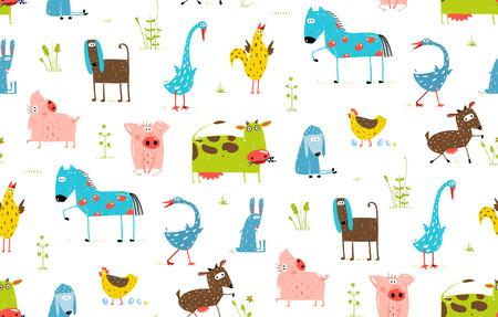 domestic animals: Bright Fun Cartoon Farm Domestic Animals Seamless Background Illustration