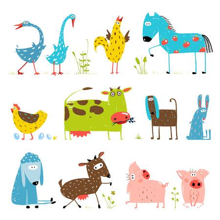 domestiÑ: Brillantemente coloreados Diversión campo de la historieta Animales domésticos Colección para Niños Vectores