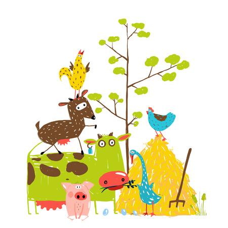 Colorful Funny Cartoon Farm Domestic Animals Pyramid Composition Card