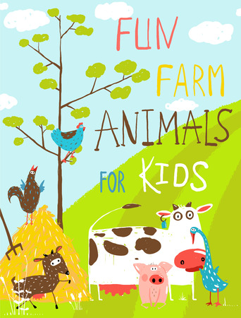 farm animal: Colorful Funny Cartoon Farm Domestic Animals Greeting Card