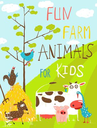 granja caricatura: Tarjeta de felicitación colorida de divertidos dibujos animados de granja Animales domésticos Vectores