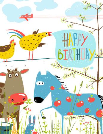 domestic: Colorful Funny Cartoon Farm Domestic Animals Birthday Greeting Card