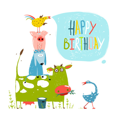 vaca caricatura: Tarjeta de felicitación del cumpleaños de la diversión de la historieta Animales Granja Pirámide Vectores