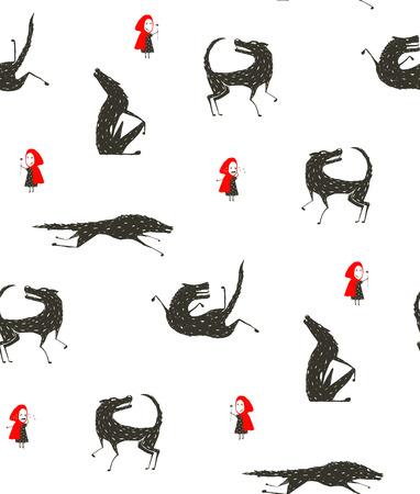 lobo feroz: Caperucita Roja y el Lobo Negro Patrón sin fisuras Fairytale