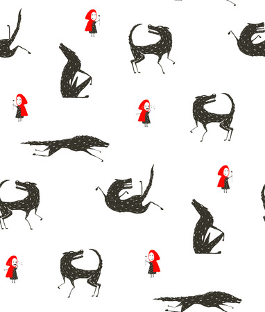 Little Red Riding Hood and Black Wolf Fairytale Seamless Pattern Illustration
