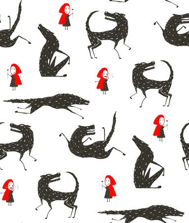 málo: Červená Karkulka a vlk pohádka Black Seamless Pattern Ilustrace