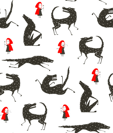 black and white wolf: Little Red Riding Hood and Black Wolf Fairytale Seamless Pattern Illustration