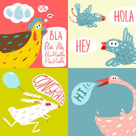 Colorful Fun Cartoon Domestic Animals Greeting Cards