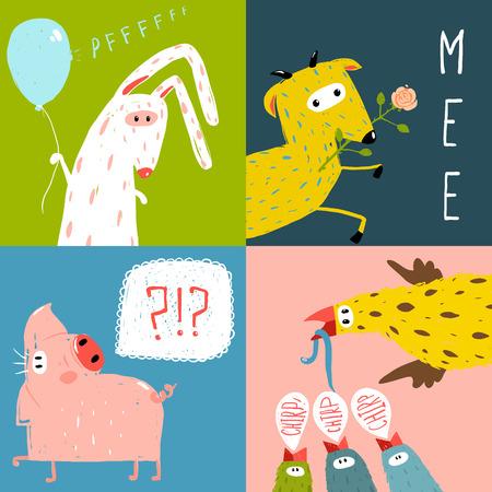 Bright Cartoon Farm Animals Square Greeting Cards