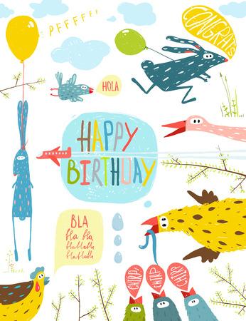 Wenskaart Felgekleurde Beeldverhaal Dieren Gelukkige Verjaardag