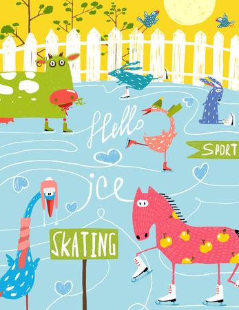 Colorful Fun Cartoon Farm Ice Skating Animals for Kids