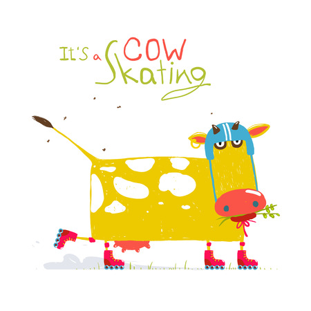 roller: Colorful Fun Cartoon Roller Skating Cow Wearing Helmet for Kids Illustration