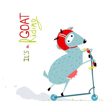 Childish Colorful Fun Cartoon Goat Riding Scooter