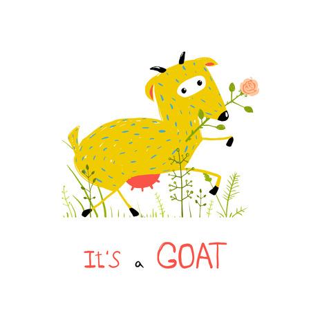 baby goat: Childish Colorful Fun Cartoon Goat Eating Flower