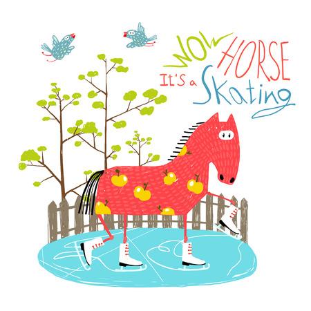 ice skating: Colorful Fun Cartoon Ice Skating Horse for Kids