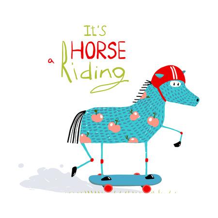 Kleurrijke Fun Cartoon Paard op Skateboard voor Kids Stock Illustratie