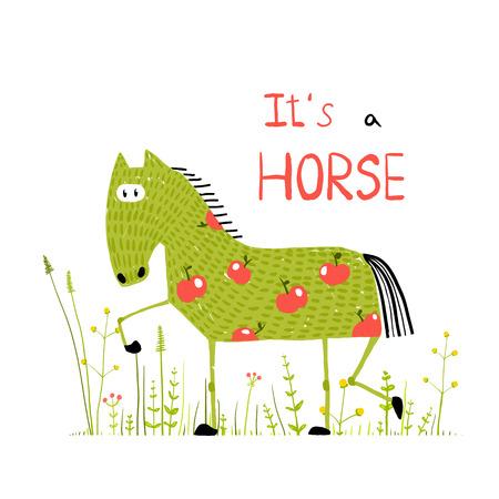 fun grass: Childish Colorful Fun Cartoon Horse in Grass Field