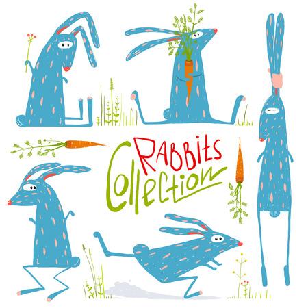 어린이를위한 밝은 색깔 재미 만화 토끼 동물 컬렉션 일러스트