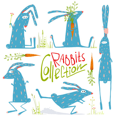 Brightly Colored Fun Cartoon Rabbits Animals Collection for Kids