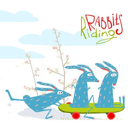 Colorful Funny Cartoon Rabbits Riding Skateboard