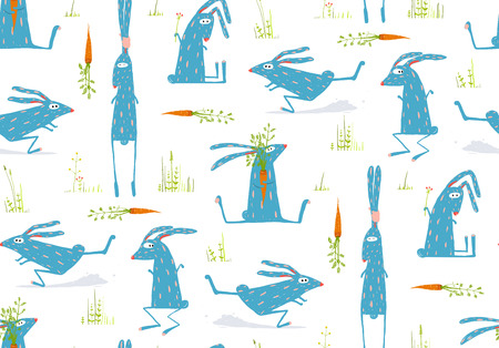 Brightly Colored Fun Cartoon Rabbits Animals Seamless Pattern Background Illustration
