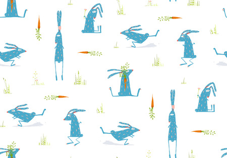 brightly: Brightly Colored Fun Cartoon Rabbits Animals Seamless Pattern Background Illustration