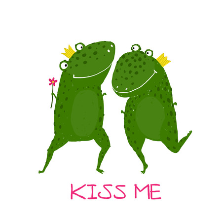 Two Frogs Prince and Princess in Love Kissing. Fairy tale green frogs with crowns presenting flower illustration.
