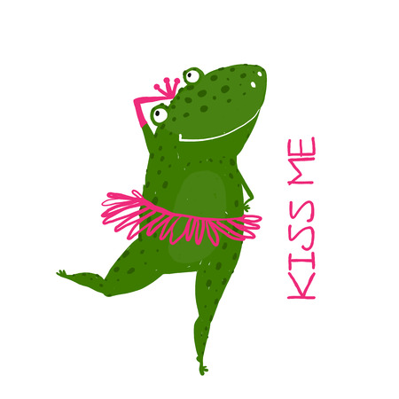 Funny Cute Frog with Crown Dancing. Green fairy tale frog asking for a kiss hand drawn illustration.