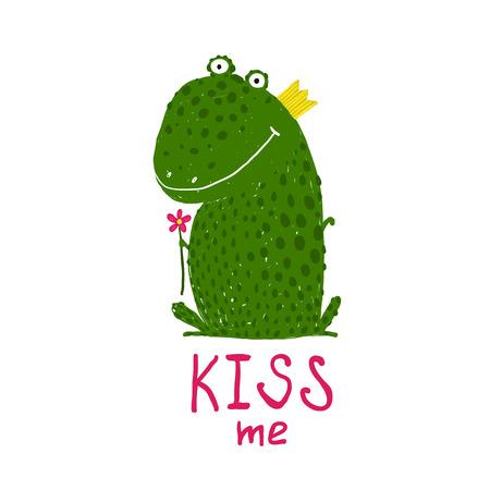 grenouille: Fun Green Frog magique Demander Baiser Sourire. Mignon humour conte de f�e tenant une illustration tir�e fleur de la main.