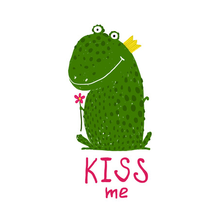 frog: Fun Green Magic Frog Asking for Kiss Smiling. Cute humor fairy tale holding a flower hand drawn illustration. Illustration