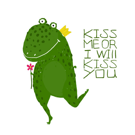 hand holding: Fun Green Magic Frog Asking for Kiss Smiling . Cute humor fairy tale holding a flower hand drawn illustration.