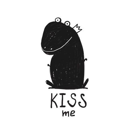 grenouille: Frog Prince Kiss Me dessin noir et blanc. Conte de fée grenouille séance et en demandant une illustration de baiser.