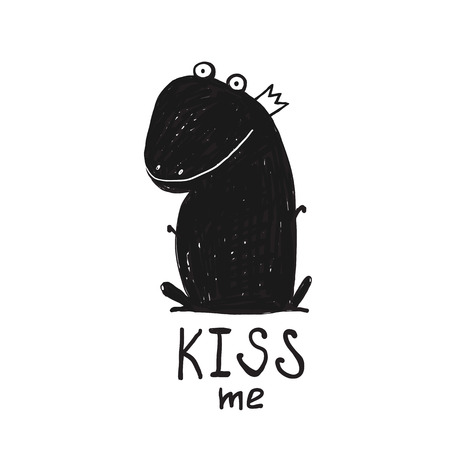 cartoon kiss: Prince Frog Kiss Me Black and White Drawing. Fairy tale frog sitting and asking for a kiss illustration.